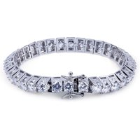 Wholesale Mens Silver Curb Bracelet - Mens Bracelet for 2018 fashion jewelry Hip hop CZ Bling Jewelry Gold Silver Color Miami Curb Cuban Chain Iced Out Rhinestones