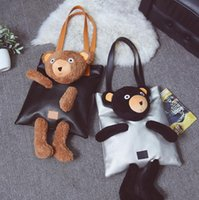 Wholesale hard dolls - Pu Leather Bear Doll Tote Bag Clutch Shoulder Bag Girl Handbag Plush Bear Women Casual Crossbody Bag 3 Colors OOA3851