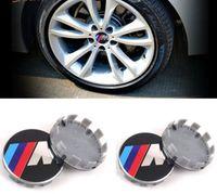 Wholesale Rims Bmw - 100 pcs 68mm wheel center rim hub caps car emblem badge decal sticker M power emblem logo car styling
