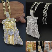 Wholesale Jesus Piece Wholesale - Iced Out JESUS Christ Piece Head Face Hip Hop Pendant Necklace Charm Chain For Men and Women Trendy Holiday Accessories
