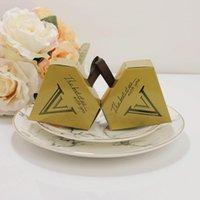 Wholesale chocolate diamonds wholesalers online - Creative Unicorn Triangular Pyramid Wedding Diamond Shape Gilding Gift Box Golden Chocolate Candy Boxes Party Supplies Hot Sale bn aa