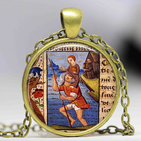 Wholesale baby jesus - Handmade Glass Cabochon Pendant St Christopher and Baby Jesus Necklace Patron Saint of Travelers Retro Gift Bronze Chain Jewelry