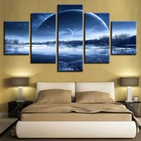 0e2a1068228 Wall Art Canvas HD Prints Poster Framework 5 Pieces Moon Night Forest Lake  Painting Planet Landscape Pictures Modular Home Decor