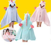 Wholesale korean home decor for sale - Group buy 3styles Unicorn cartoon Plush Blanket Cloak kids Toys Gifts Halloween Party cosplay Props Home Decor INS office warm blanket FFA953