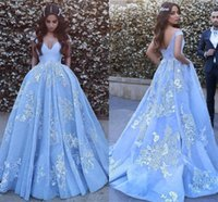 Wholesale sequin beaded satin ball for sale - Light Sky Blue Ball Gown Evening Dresses Off Shoulder Appliques Lace Tulle Organza Backless Formal Evening Dress Prom Dress