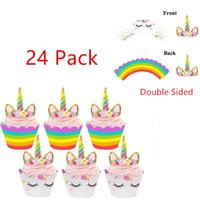 Wholesale wrappers baby - 24pcs Rainbow Unicorn Cupcake Cake Wrappers Toppers Baby Shower Kids Birthday Cupcake Wrappers Unicorn Rainbow Cake Toppers BBA257
