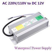 elektrik şeritleri toptan satış-DC 12 V LED Güç Kaynağı 50 W 60 W 80 W 100 W 150 W Trafo Açık Bahçe Peyzaj Şerit Işık için Su Geçirmez IP67 Sürücü