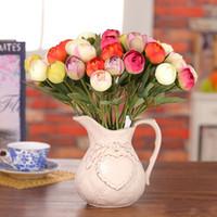 ingrosso fiori artificiali di fascia alta-Mazzo piegante fatto a mano di simulazione del fiore artificiale variopinto realistico per le decorazioni della festa nuziale Fiori di qualità superiore 1 8lx Y