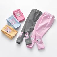 Wholesale Color Pencils Kids - Baby Girls Pants Embroidery Rabbit Pattern Stripe Pants Kids Autumn Pants 5 colors 5 p l