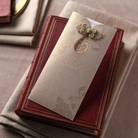 Wholesale wedding invitation chinese floral for sale - Group buy Personalized Laser cut bronzing Pearl Floral Wedding Invitations with Chinese Knot double happiness