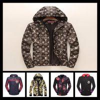 Wholesale double hooded jacket - Autumn Luxury Brand Men Medusa Jacket Double Sided Print Jackets Brand Sport Hip Hop Outdoor Long Sleeve Jacket 3D Men's Casual Coats