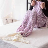 taşınabilir bebek yatakları toptan satış-Kış Örme El Yapımı Mermaid Battaniye Balık Kuyruk Çocuk Yetişkin için Bebek Giyilebilir Taşınabilir Uyku Tığ Battaniye Kanepe Üzerinde Yatak 180x90 cm