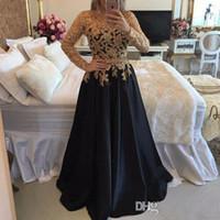 ingrosso vestiti di lunghezza di tè chiffoni gialli-ZYLLGF 2018 Prom Dresses maniche lunghe con pizzo oro appliqued perline Abiti da ballo in raso Abito lungo Dubai arabo da sera