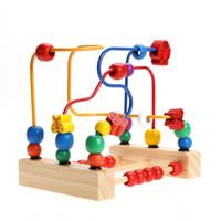 kinderkornspielzeug großhandel-Blöcke Bunte Holzspielzeug Kinder Klassische Holzbausteine Perle Labyrinth Kind Perlen Pädagogisches Spielzeug Achterbahn Labyrinth Puzzle Spielzeug Paradies