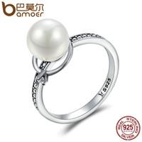 перламутровые кольца для женщин оптовых-весь saleBAMOER аутентичные стерлингового серебра 925 световой CZ имитация Перл палец кольца для женщин роскошные ювелирные изделия стерлингового серебра SCR167
