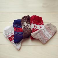 Wholesale wool deer socks resale online - Christmas Deer Moose Socks New Casual Warm Winter Knit Wool Female Mid Socks Christmas Decoration Supplies colors HH7