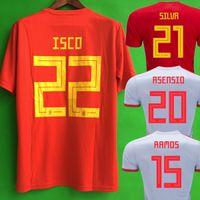 camisetas de fútbol españa al por mayor-camiseta españa MORATA ASENSIO camiseta de fútbol de España 2018 RAMOS ISCO SILVA INIESTA camiseta de fútbol camiseta de futbol maillot