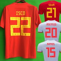 futbol forması gömlek ispanya toptan satış-Camiseta españa RODRIGO PACO ALCACER İspanya futbol forması RAMOS SARABIA THIAGO INIESTA futbol futbol forması camisetas de futbol maillot