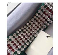 Wholesale crystal paving - Web ELASTIC stripe crystal Headband runway Headwrap Green and Red Strap clear crystal pave WOMEN party wedding cocktail Fashion