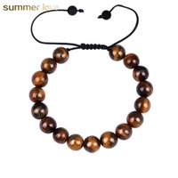 Wholesale 2018 New Arrival Tigers Eye Adjustable Size Woven Rope Bracelet For Men Lover mm Lava Rock Beads Stone Brecelet Jewelry Gift