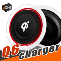 Wholesale Led Light Pads - Q6 Wireless Charger Charging Pad Crystal Led light For Iphone X 8 Plus Samsung Galaxy S8 plus LG Nokia Google Smartphone With Package