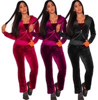 Wholesale women velvet tracksuits - Sexy Velvet Casual Women Sportwear Fashion Tracksuits Women Top Curve Suit Zipper Hoodies With Jogging Pant 2pc Set