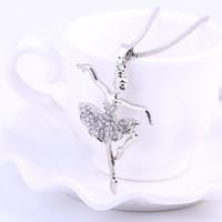 bale plakası toptan satış-Charm Moda Gümüş Kaplama Kolye Fantezi Kristal kolye kolye melek ballet dansçı kız kolye takı kadınlar için