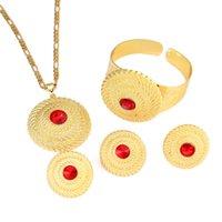 gold ringe 24k frauen großhandel-Äthiopischen roten Stein Schmuck Set 24k Gold plattiert Anhänger Ring Ohrring Armreif Hochzeit Sets Frauen