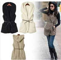Wholesale hooded sleeveless jacket woman online - women Warm Fleece Vests jackets Winter Hooded Waistcoats Ladies Casual Sleeveless Coats Outwears Vest with waistband KKA5979