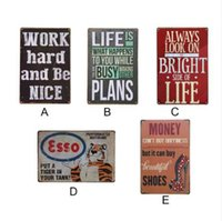 Wholesale movie tin signs wholesale - Work Hard And Be Nice Tin Plate Signs Movie Poster Art Cafe Bar Vintage Metal Painting Wall Stickers Home Decor Poster
