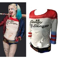 Wholesale anime clothes hoodie online - Suicide Squad Harley Quinn Cosplay Costume Lil Monster Anime T Shirts Arkham Asylum Ripped Rips Hoodie Gym Clothing OOA5657