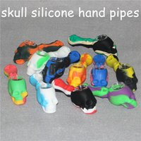 Wholesale tabacoo pipes resale online - Skull Silicone Rig tabacoo hand pipes silicone smoking pipes Hand Spoon Pipe Nectar Hookah Bongs silicone oil dab rigs with glass bowl