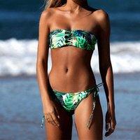 Wholesale Green Stripe Bikini - Sexy Bandage Bikini 2018 Women Leaf Print Swimwear Push Up Swimsuit Bandeau Biquini Brazilian Bikinis Stripe Bathing Suit Beach