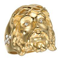 anéis de christ venda por atacado-Moda titanium aço ouro christ jesus cabeça pedaço anel hip hop bling tamanho do rock 8-12 para mulheres dos homens presente da jóia da mulher anel de casamento