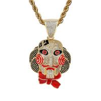 замаскированная кукла косплей оптовых-Мужская хип-хоп Маска кукла кулон ожерелье проложили микро цирконий камень эмаль ожерелья Хэллоуин косплей ювелирные изделия