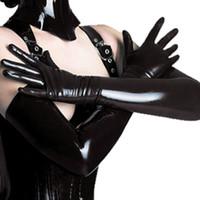 siyah cosplay catsuit toptan satış-Siyah Yetişkin Seksi Uzun Lateks Eldiven Clubwear Seksi Catsuit Bayanlar Hip-pop Fetiş Faux Deri Eldiven Cosplay Kostümleri Aksesuar