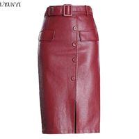 1604f926fb1 LXUNYI PU Leather Skirt Women Autumn Winter Korean Fashion Plus Size High  Waisted Skirts Womens Midi Slim Leather Skirts Sexy