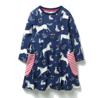 Wholesale flowers england online - Kids Dinosaur Unicorn Flowers Printed Princess Dress Long Sleeve Baby Girls Dress New Kids Tunic Jersey Dresses for Girls Clothes