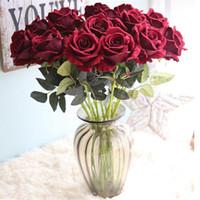 çiçek şakayık gül kamelya düğün toptan satış-Düğün Noel Partisi Dekoratif Çiçek için Çap İpek Yapay Çiçek Şakayık Camellia Sahte Gül Çiçek Başkanları