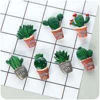 Wholesale souvenir fridge magnets - 7pc lot Creative Cactus Plants Fridge Magnets Kawaii Cute Plants Decorative Refrigerator Souvenir Cacti Kitchen Home Decor MMA214