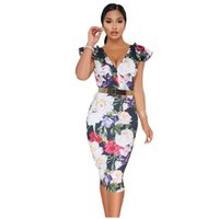 Wholesale club plus size clothing online - Plus Size Bodycon Midi Dress Boho Floral Print Sexy Summer Slim V neck Dark Blue Yellow Ruffle Cap Sleeve Women Clothing