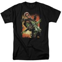 impresión de la cubierta del libro al por mayor-Green Arrow New 52 Comic Book Cover # 1 Artwork Bow T-Shirt Adultos S-3XL Cómoda camiseta Casual manga corta Estampado 100% algodón