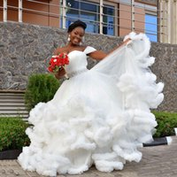 2018 Sweety Bridal Gowns Off Shoulder Tiered Ruffle White Wedding Gowns With Cloud Shape Peplum Floor-Length Custom Made Wedding Dresses