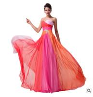 túnica larga y colorida al por mayor-Vestidos de dama de honor largos de una línea de gasa Vestidos de dama de honor formales de colores Vestidos de fiesta de boda Toga de dama de honor