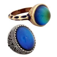 ingrosso anelli per grandi dita-2019 vendita calda Mans oro e argento anello dito grande cambiamento di colore anello Mood RG002-029 2 pezzi / set