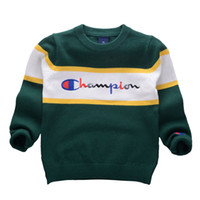 Wholesale korean baby knitted clothes for sale - Korean style Autumn Winter Boys Girls Sweaters Champion Baby stripe Pullover Knit Kids Clothes Embroidery letters Student Clothing