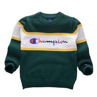 ingrosso vestiti da neonato a maglia-Stile coreano 2018 Autunno Inverno Ragazzi Ragazze Maglioni Champion Baby stripe Pullover Knit Abbigliamento per bambini Lettere per ricamo Abbigliamento per studenti