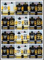 malkin siyah buz mayo toptan satış-Çocuklar 2018-2019 newset Dikişli Penguenler # 87 CROSBY / # 71 MALKIN / # 30 Murray / # 59 GUENTZEL / # 58 Letang / # 81 KESSEL Beyaz Siyah Hokey Formaları Buz