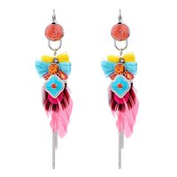 Wholesale feather shaped earrings - Dripping Rhinestones Fringed Handmade Feather Earrings Bow Shape Earring Tassel Feather Earring Girl Jewelry Support FBA Drop Shipping H272F