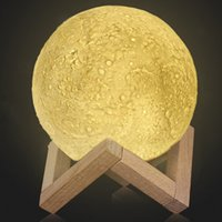 Wholesale Light Ornaments - Rechargeable 3D Print Moon Lamp 2 Color Change Touch Switch Bedroom Bookcase Night Light Home Decor Creative Valentine Gift 1007001